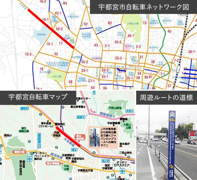 宇都宮市自転車ネットワーク図・宇都宮自転車マップ・周遊ルートの道標イメージ
