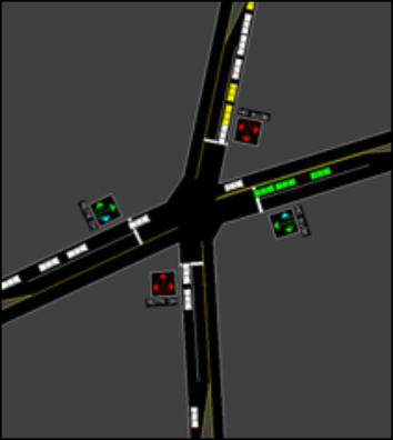 交通ミクロシミュレーションによる交差点検討イメージ