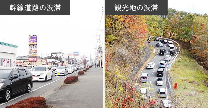 新鮮道路・観光地の渋滞イメージ